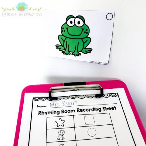 Grab this FREE rhyming room activity in this blog post! The post also has ideas for rhyming games and activities.