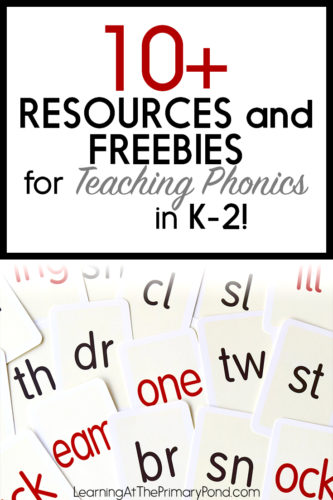This blog post has a TON of resources and freebies for teaching phonics in Kindergarten, first grade, or second grade! There are links to phonics games and activities + a phonics scope and sequence!