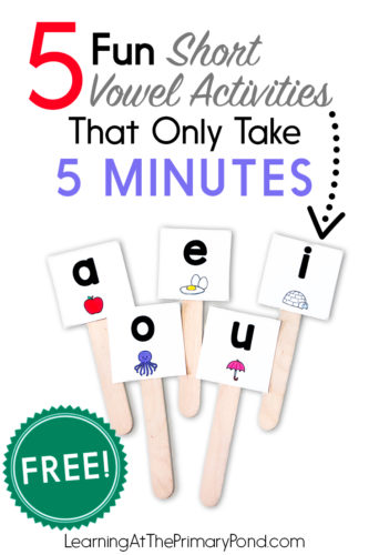 These short vowel activities are fun, low-prep and only take a few minutes. I use these with my Kindergarten, first grade, and even second grade students. Read the post for all the details and to download the free short vowel activities!