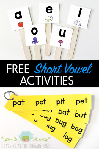 This blog post has FREE activities for practicing short vowel sounds with your Kindergarten, first grade, and second grade students! Grab these short vowel fluency strips and the short vowel puppets in the post!
