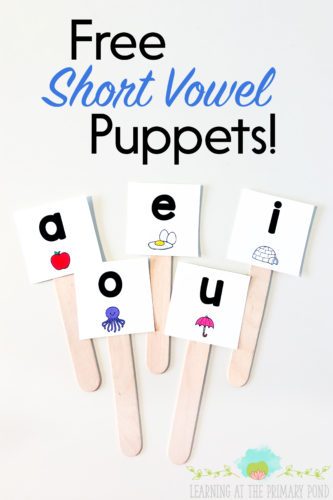 "This short vowel activity is simple and fun! Just say a word with a short vowel sound aloud. Students have to listen, repeat the word, identify the correct short vowel, and hold up the corresponding puppet. In addition to holding up the puppet, students should identify the vowel. (""A says /a/."") Read the entire blog post for more short vowel activities for Kindergarten, first grade, and second grade - and to download all the free materials!"