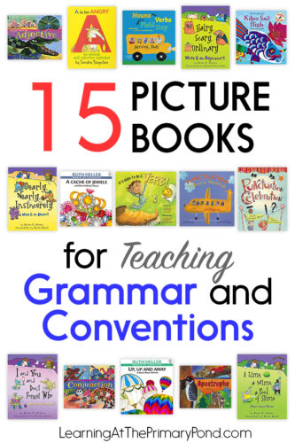 Looking for some picture books for teaching grammar in Kindergarten, first grade, or second grade? Here are 15 of my favorites - they cover nouns, verbs, adjectives, adverbs, punctuation, and more!