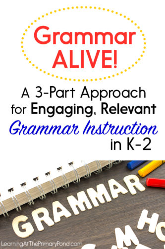 Do you want to make your grammar instruction more fun and engaging for your K-2 students? Are you desperate to figure out how to get your kids to actually REMEMBER and APPLY the grammar and conventions rules you teach? In this post, I share a 3-part approach to help you teach your students grammar rules and conventions (punctuation, capitalization, parts of speech, etc.). It'll keep your kids engaged and follow best practices in grammar instruction!