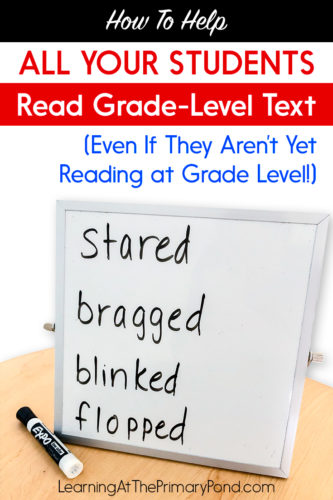 Even struggling readers should have opportunities to work in grade-level text! These strategies will help your lower readers tackle more challenging text. They'll support your Kindergarten, first grade, or second grade students with decoding, comprehension, and fluency.