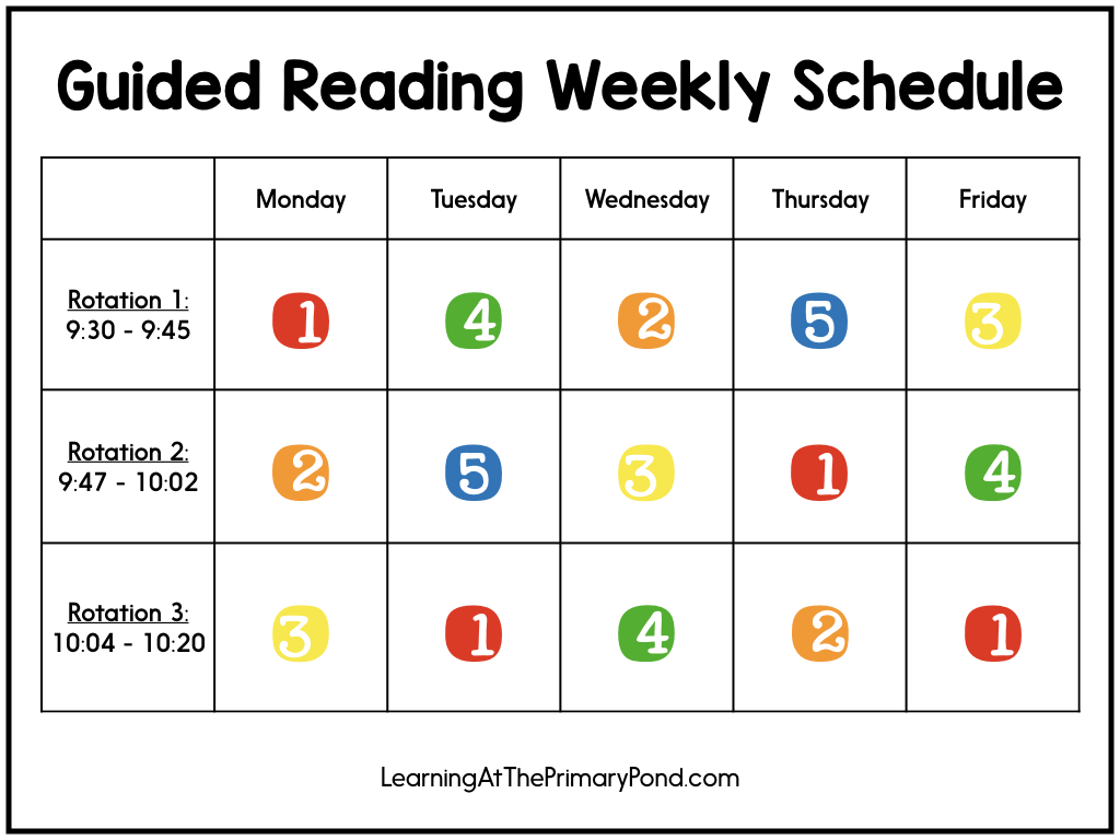 This guided reading schedule template will help you build your daily schedule! This blog post is full of examples that work well for guided reading in Kindergarten, first grade, and second grade.