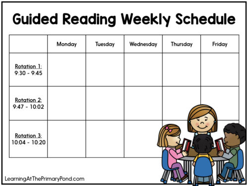 This guided reading schedule template will help you build your daily schedule! This blog post is full of examples that work well for guided reading in Kindergarten, first grade, and second grade