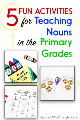 Need some fun activities to teach nouns to your 1st or 2nd grade students? These activities and ideas are great for teaching common nouns and/or proper nouns! They'll help students make connections to real reading and writing AND have fun learning about nouns.