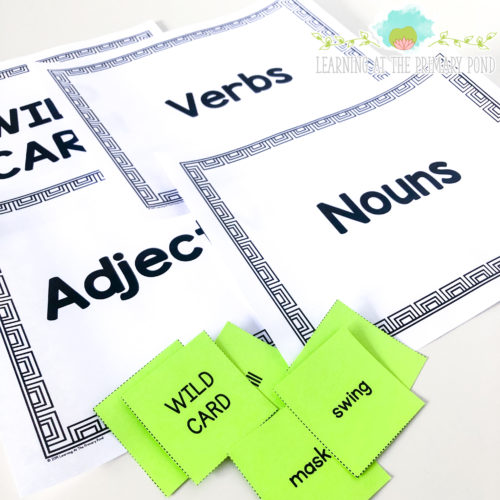 Play this game with your first or second grade students to practice nouns, verbs, and adjectives! This is an active, engaging activity for practicing parts of speech.