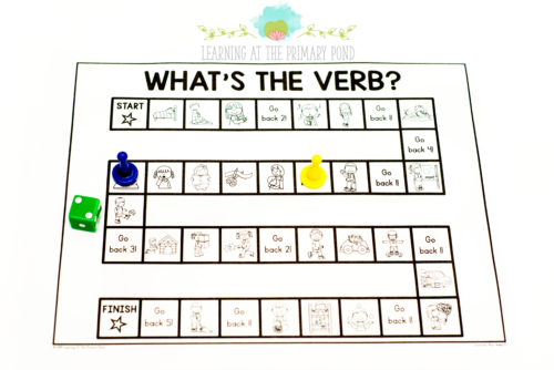 Play this verb board game to have students in Kindergarten, first grade, or second grade practice their verb vocabulary!