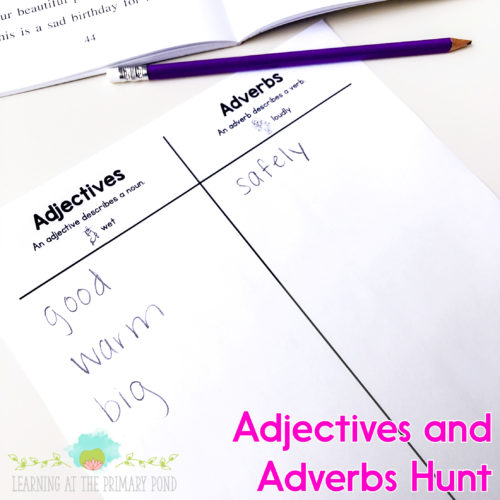 "Have students look for adverbs ""in the wild"" in their own texts. This activity helps bring grammar alive through active learning!"
