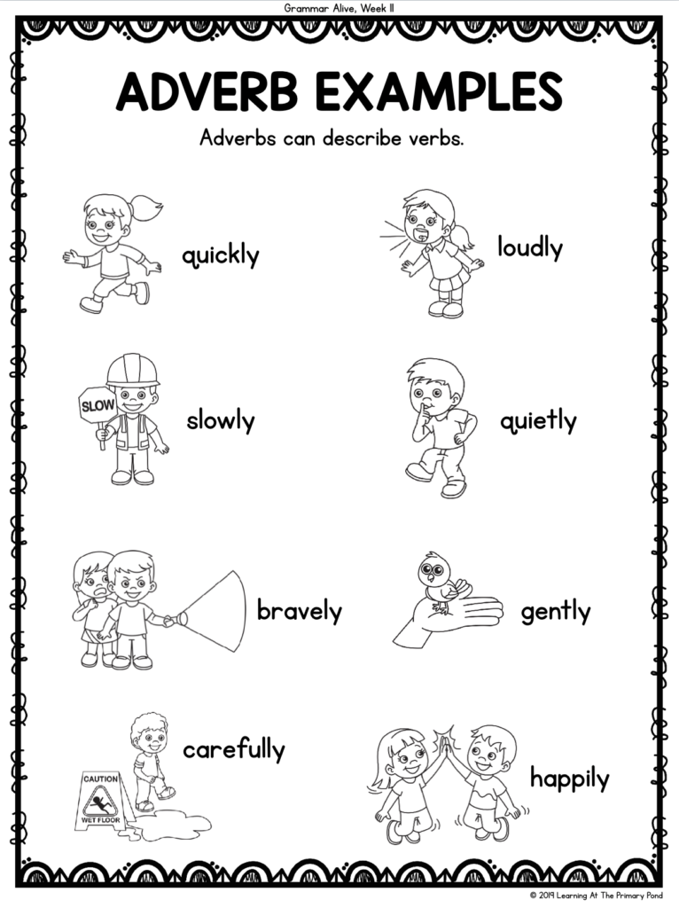 Use these adverbs in a game of Act It Out! with second grade students. This activity helps bring grammar alive through active learning!