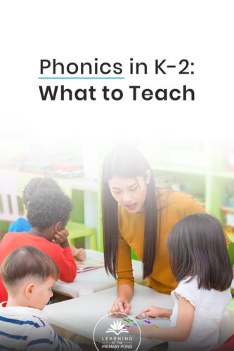What to teach in phonics: it shouldn't be a mystery! You might already know that teaching phonics in Kindergarten, first grade, and second grade is essential. But if you don't know what skills and concepts to teach, then teaching phonics effectively becomes a lot harder. In this blog post, learn what you should teach in phonics in the primary grades, and also grab a free scope and sequence document!