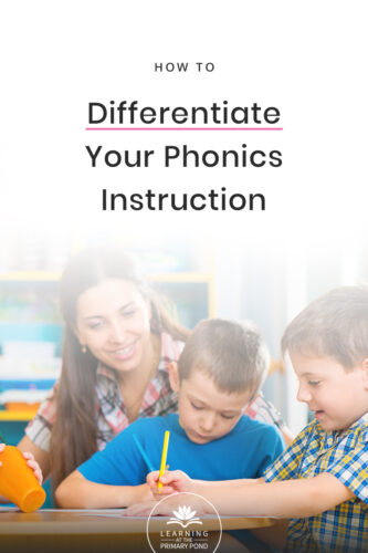 Want to easily differentiate your phonics instruction? Yes, it's really possible! Get ideas for word study or phonics instruction in Kindergarten, first grade, and second grade in this blog post! There's also a link to a free phonics assessment.